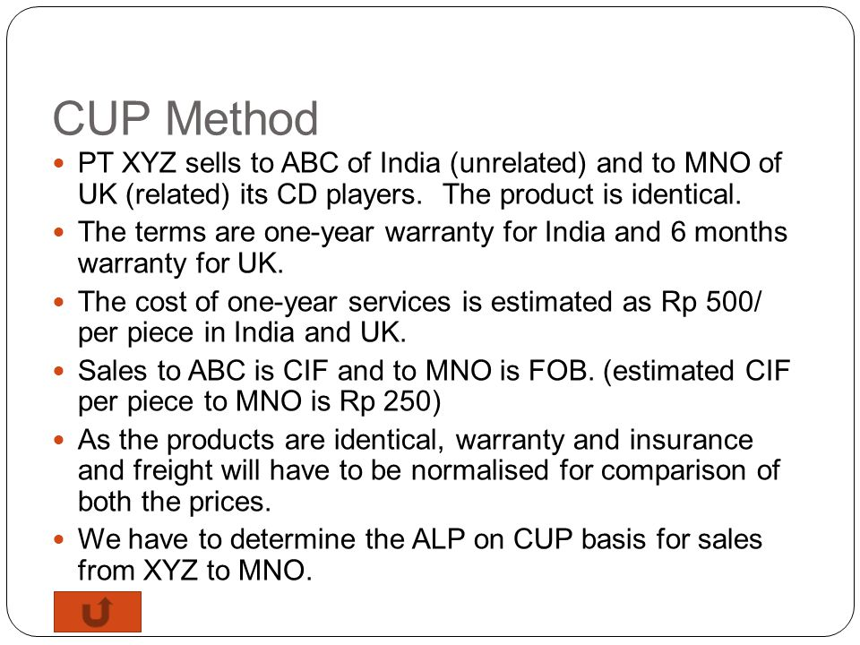 Case Study CUP Method RP Method Cost Plus Method Profit Split Method TNM Method