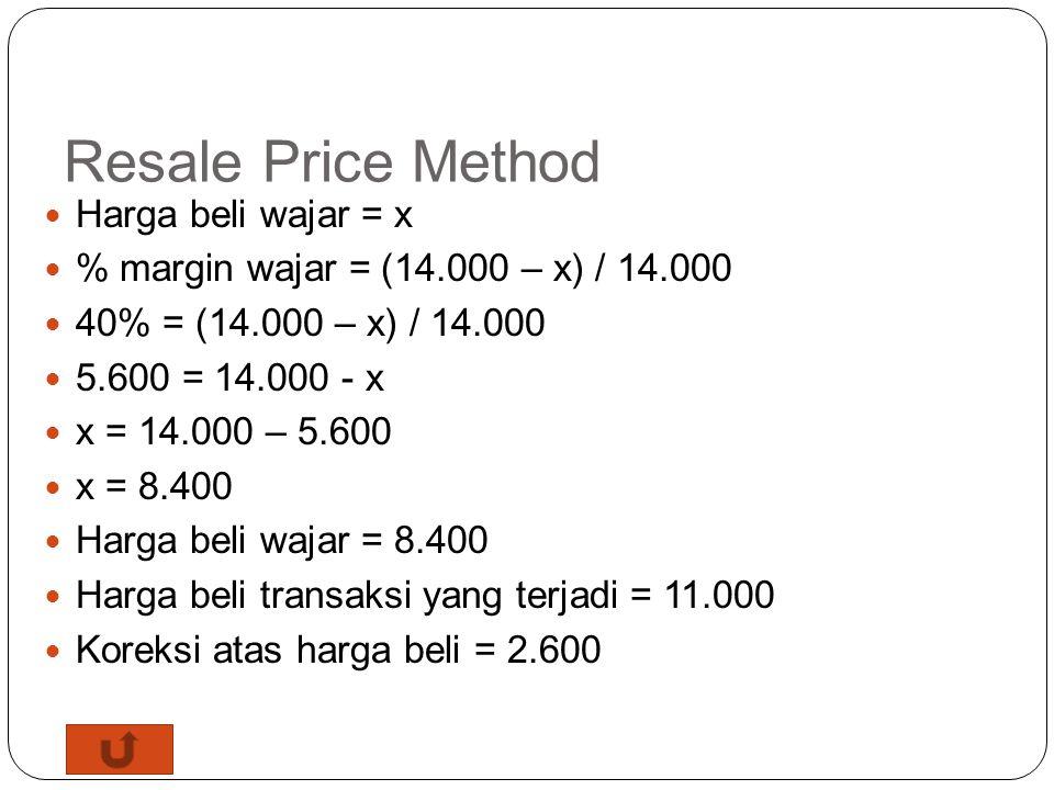 Resale Price Method PT A merupakan distributor obat yang mempunyai lisensi penjualan obat tertentu di Indonesia. PT A membeli obat dari related party