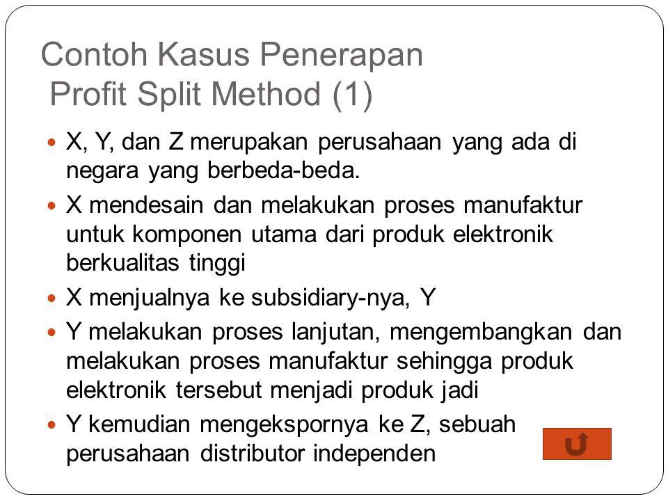 Case untuk Profit Split Method Dua pendekatan yang dapat digunakan untuk memperkirakan pembagian profit: Residual profit split approach Melalui dua ta