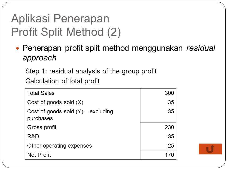 Aplikasi Penerapan Profit Split Method (1) Pada transaksi ini, CUP method tidak dapat digunakan karena adanya keunikan produk final tersebut (tidak ad