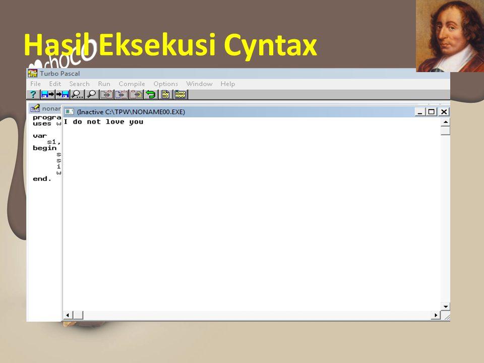 Hasil Eksekusi Cyntax