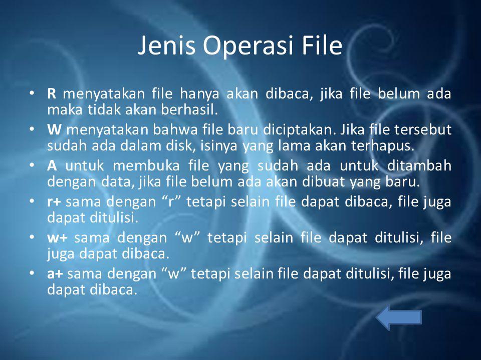 Jenis File File Biner: file yang pola penyimpanan didalam disk berbentuk biner, yaitu seperti bentuk pada memori RAM (komputer).