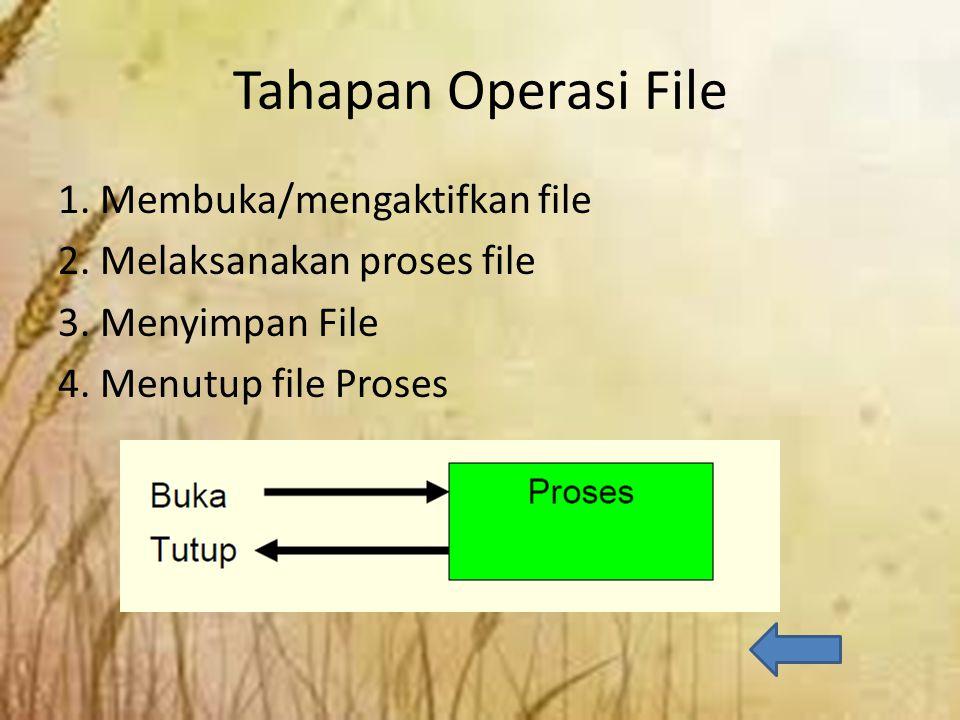 Membuka / Aktifkan File Bentuk deklarasi: Keterangan: Nama file berupa nama dari file yang akan diaktifkan Mode berupa jenis operasi yang akan dilakukan terhadap file