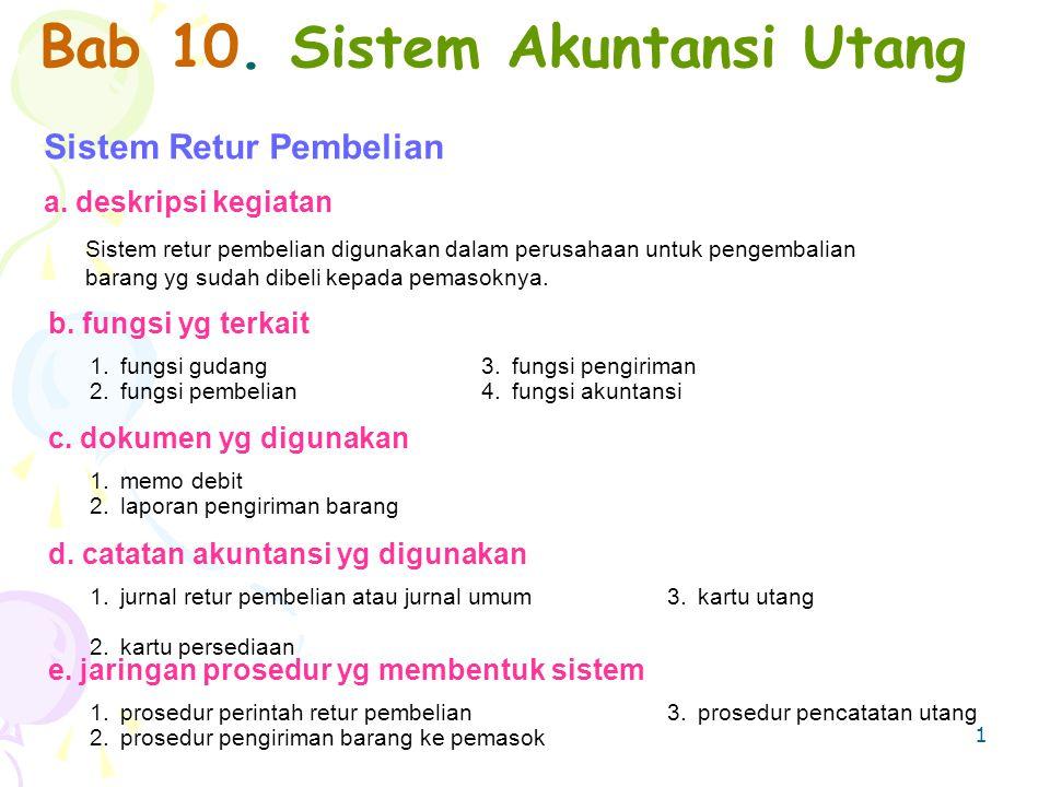 1 Bab 10. Sistem Akuntansi Utang Sistem Retur Pembelian a. deskripsi kegiatan Sistem retur pembelian digunakan dalam perusahaan untuk pengembalian bar