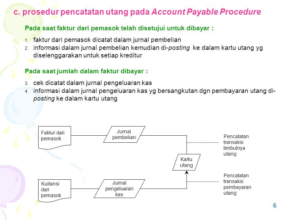 6 c. prosedur pencatatan utang pada Account Payable Procedure Pada saat faktur dari pemasok telah disetujui untuk dibayar : 1. faktur dari pemasok dic