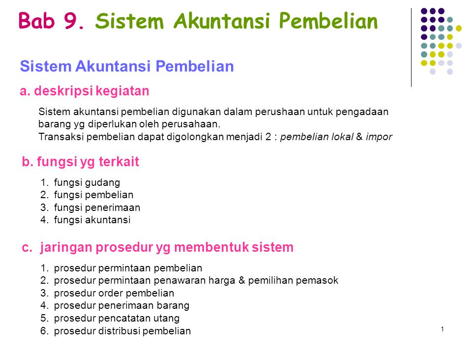 Bab 9.Sistem Akuntansi Pembelian Sistem Akuntansi Pembelian a.