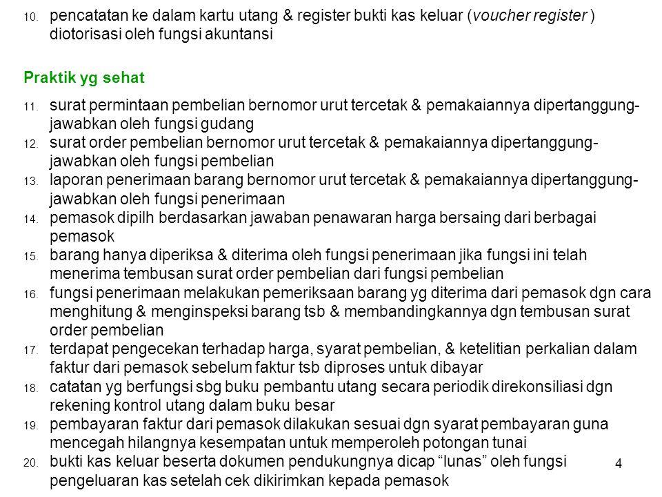 10. pencatatan ke dalam kartu utang & register bukti kas keluar (voucher register ) diotorisasi oleh fungsi akuntansi Praktik yg sehat 11. surat permi