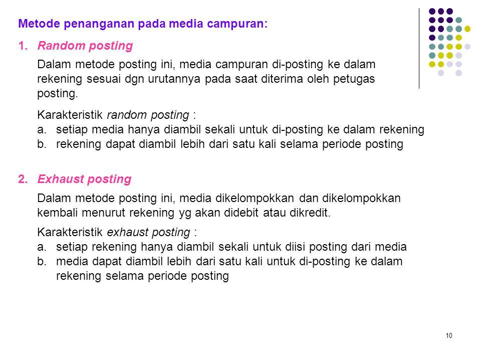 10 Metode penanganan pada media campuran: 1.Random posting Dalam metode posting ini, media campuran di-posting ke dalam rekening sesuai dgn urutannya pada saat diterima oleh petugas posting.