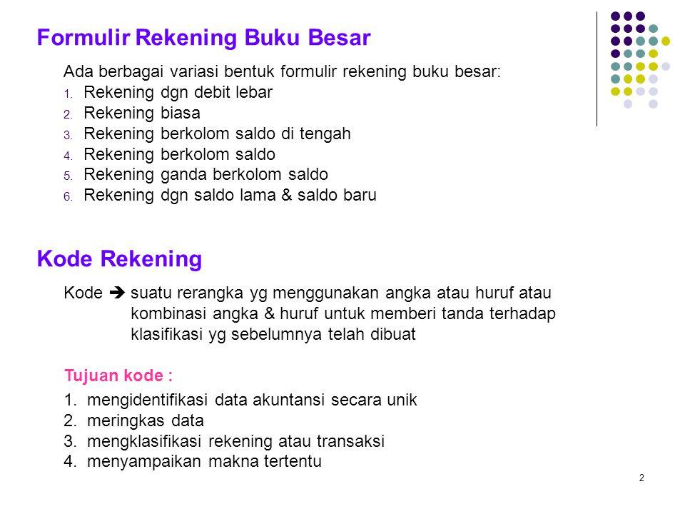 2 Ada berbagai variasi bentuk formulir rekening buku besar: 1. Rekening dgn debit lebar 2. Rekening biasa 3. Rekening berkolom saldo di tengah 4. Reke