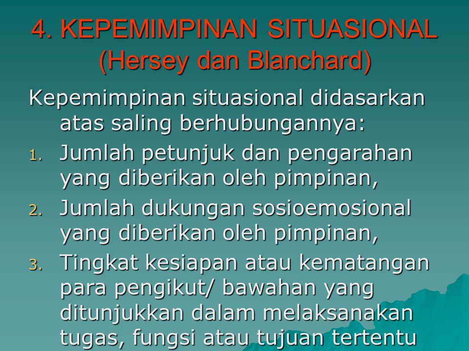4. KEPEMIMPINAN SITUASIONAL (Hersey dan Blanchard) Kepemimpinan situasional didasarkan atas saling berhubungannya: 1. Jumlah petunjuk dan pengarahan y