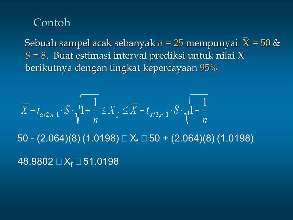 Contoh Sebuah sampel acak sebanyak n = 25 mempunyai  X = 50 & S = 8. Buat estimasi interval prediksi untuk nilai X berikutnya dengan tingkat kepercay