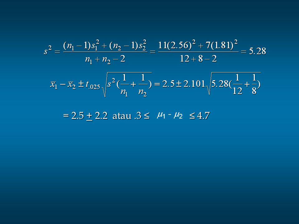 = 2.5 + 2.2 atau.3 ≤ ≤ 4.7 = 2.5 + 2.2 atau.3 ≤ ≤ 4.7  1 -  2