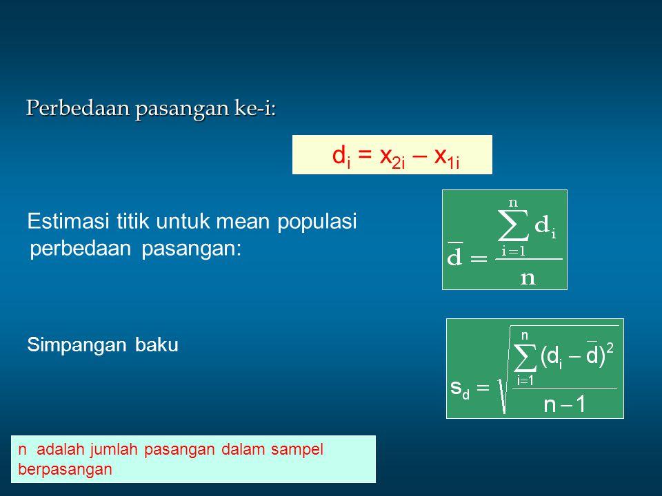 Perbedaan pasangan ke-i: d i = x 2i – x 1i Estimasi titik untuk mean populasi perbedaan pasangan: Simpangan baku n adalah jumlah pasangan dalam sampel