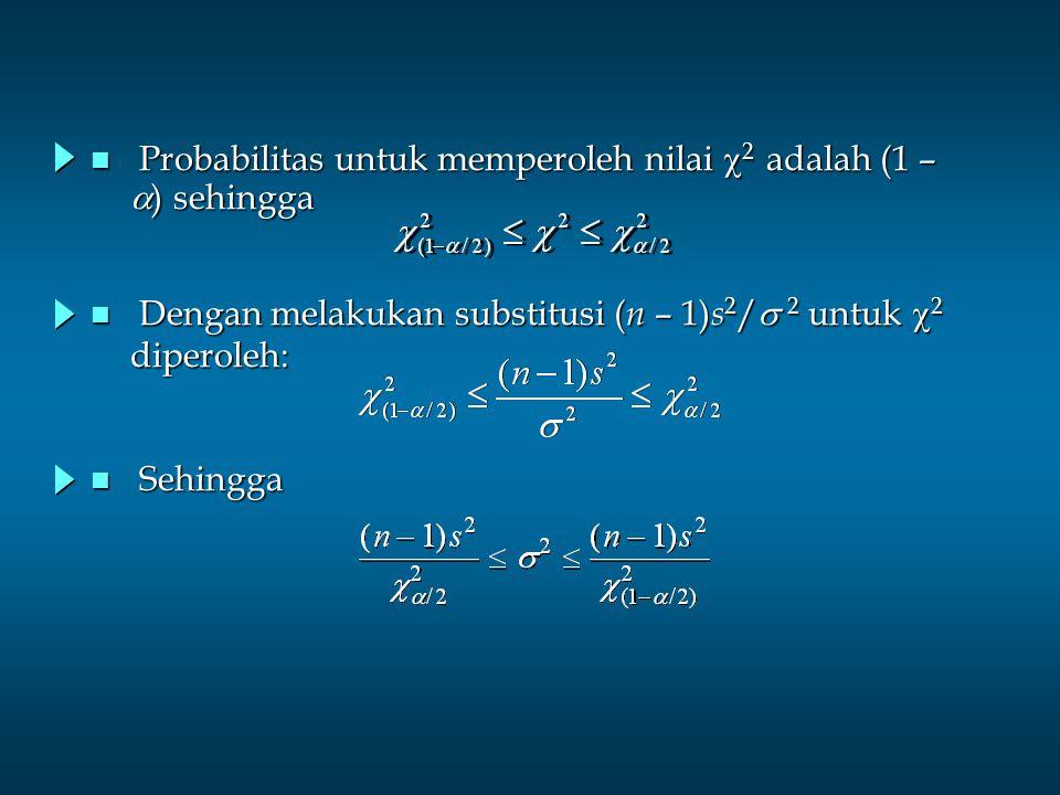 n Estimasi Interval untuk variansi populasi Nilai    mempunyai distribusi chi-square dengan derajat kebebasan n – 1 dan koefisien kepercayaan 1 - .