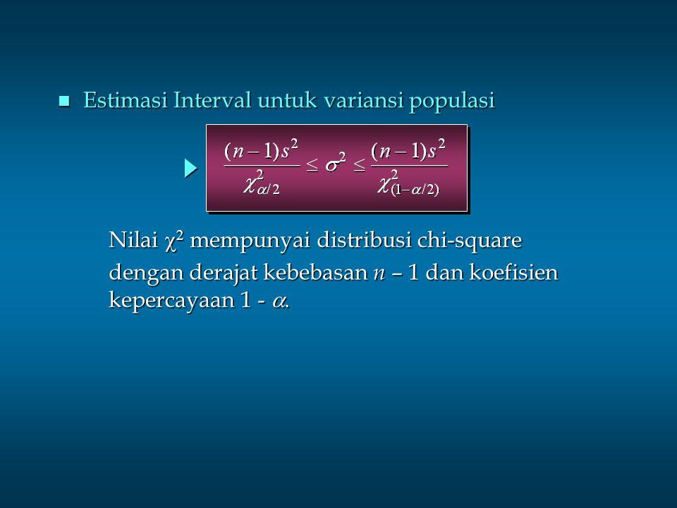 n Estimasi Interval untuk variansi populasi Nilai    mempunyai distribusi chi-square dengan derajat kebebasan n – 1 dan koefisien kepercayaan 1 - 