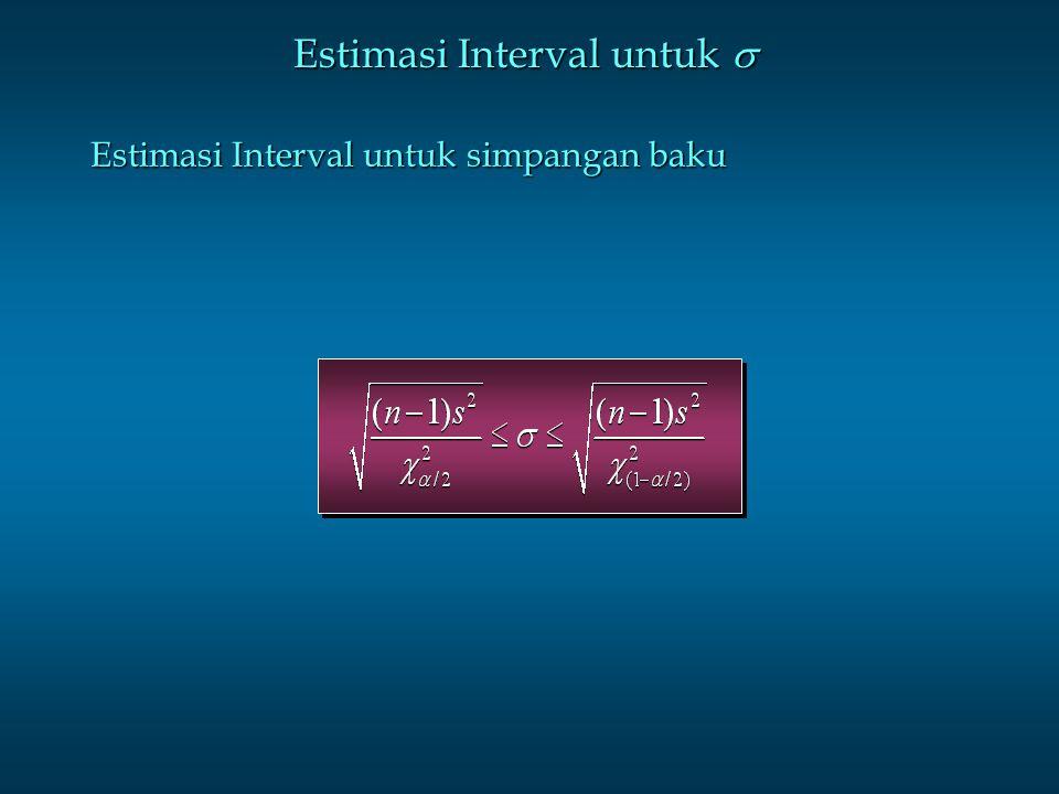 Estimasi Interval untuk  Estimasi Interval untuk simpangan baku
