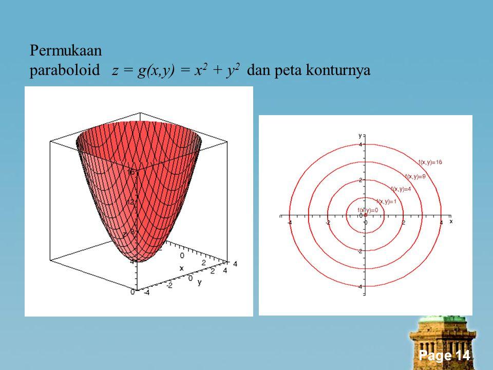 Page 14 Permukaan paraboloid z = g(x,y) = x 2 + y 2 dan peta konturnya