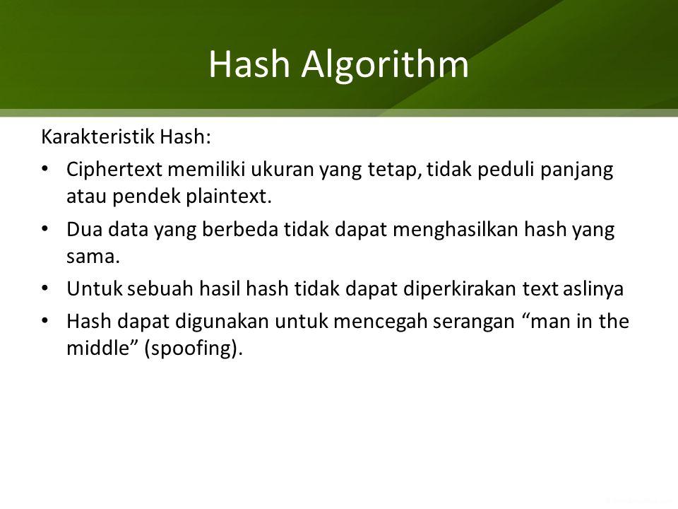Hash Algorithm Karakteristik Hash: Ciphertext memiliki ukuran yang tetap, tidak peduli panjang atau pendek plaintext. Dua data yang berbeda tidak dapa