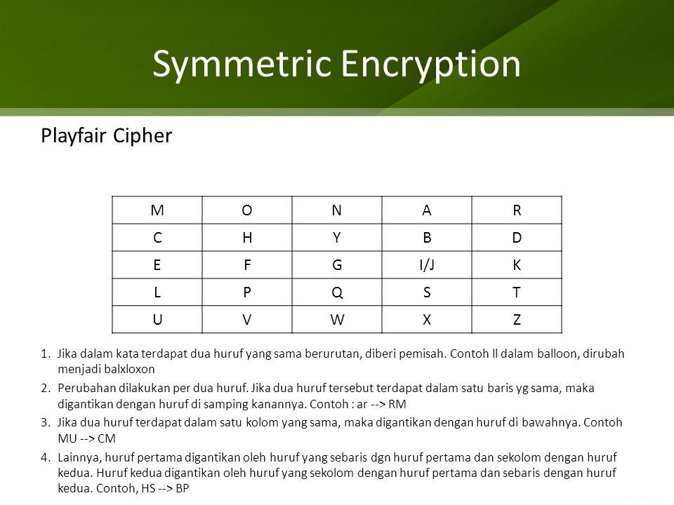 Symmetric Encryption Playfair Cipher 1.Jika dalam kata terdapat dua huruf yang sama berurutan, diberi pemisah. Contoh ll dalam balloon, dirubah menjad