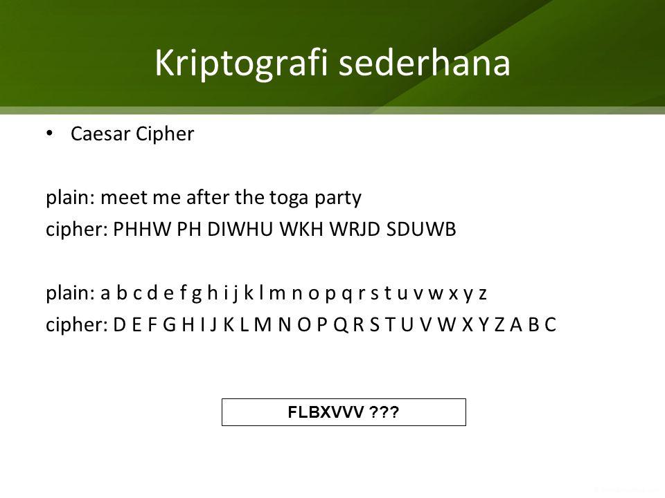 Kriptografi sederhana Caesar Cipher plain: meet me after the toga party cipher: PHHW PH DIWHU WKH WRJD SDUWB plain: a b c d e f g h i j k l m n o p q