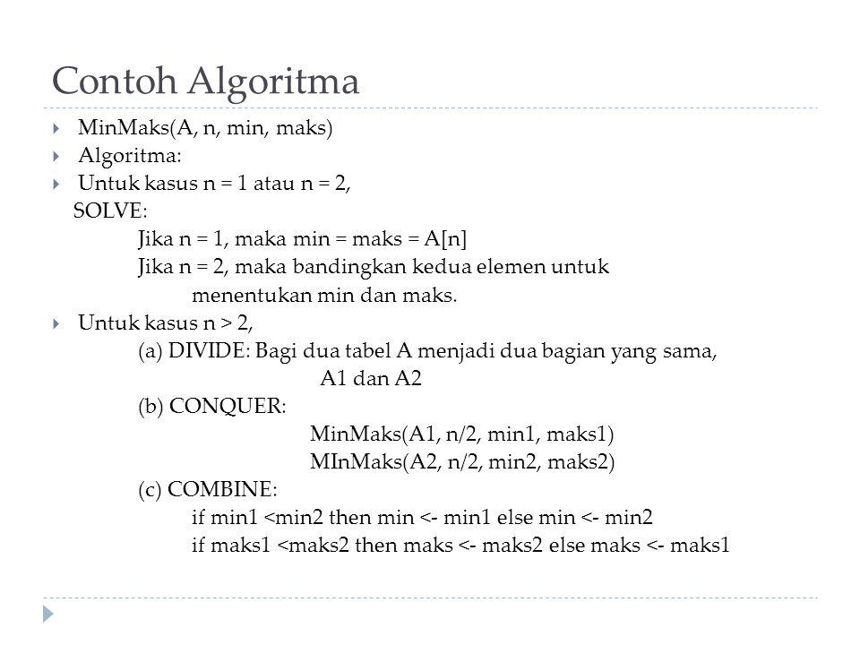 Contoh Algoritma  MinMaks(A, n, min, maks)  Algoritma:  Untuk kasus n = 1 atau n = 2, SOLVE: Jika n = 1, maka min = maks = A[n] Jika n = 2, maka bandingkan kedua elemen untuk menentukan min dan maks.