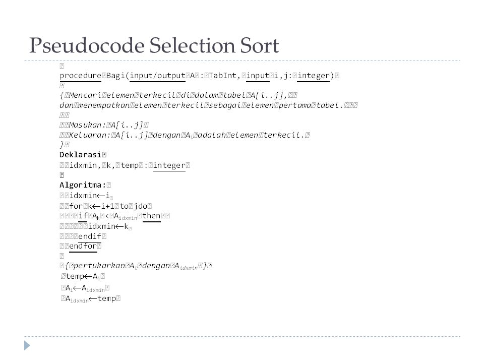 Pseudocode Selection Sort
