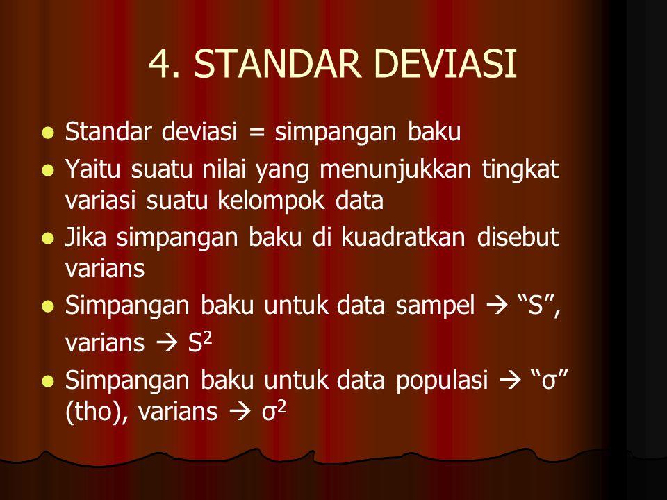 4. STANDAR DEVIASI Standar deviasi = simpangan baku Yaitu suatu nilai yang menunjukkan tingkat variasi suatu kelompok data Jika simpangan baku di kuad
