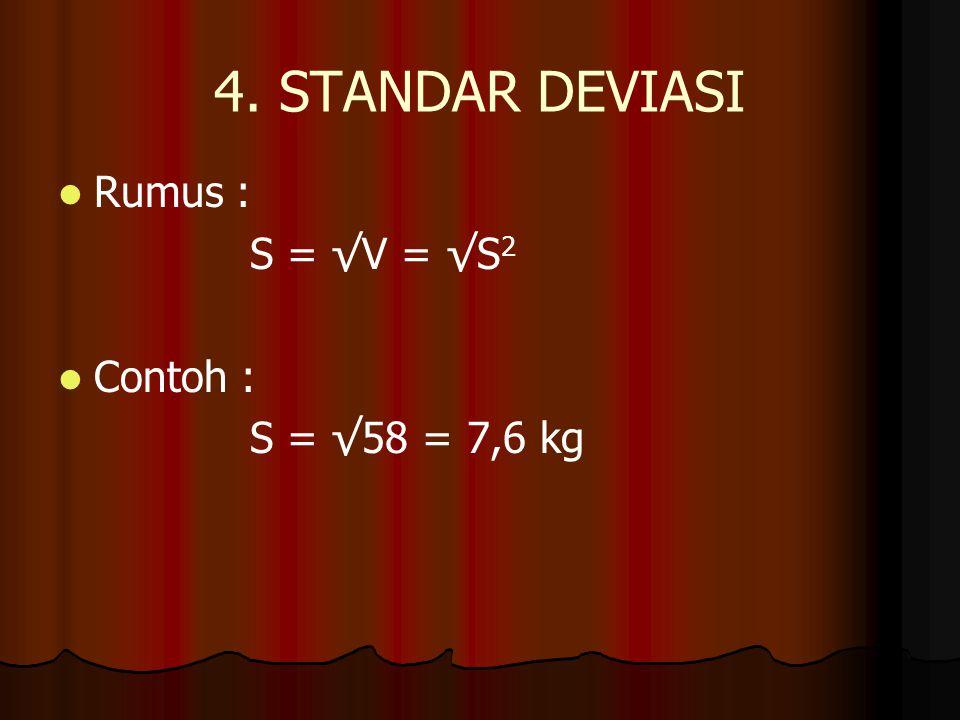 4. STANDAR DEVIASI Rumus : S = √V = √S 2 Contoh : S = √58 = 7,6 kg