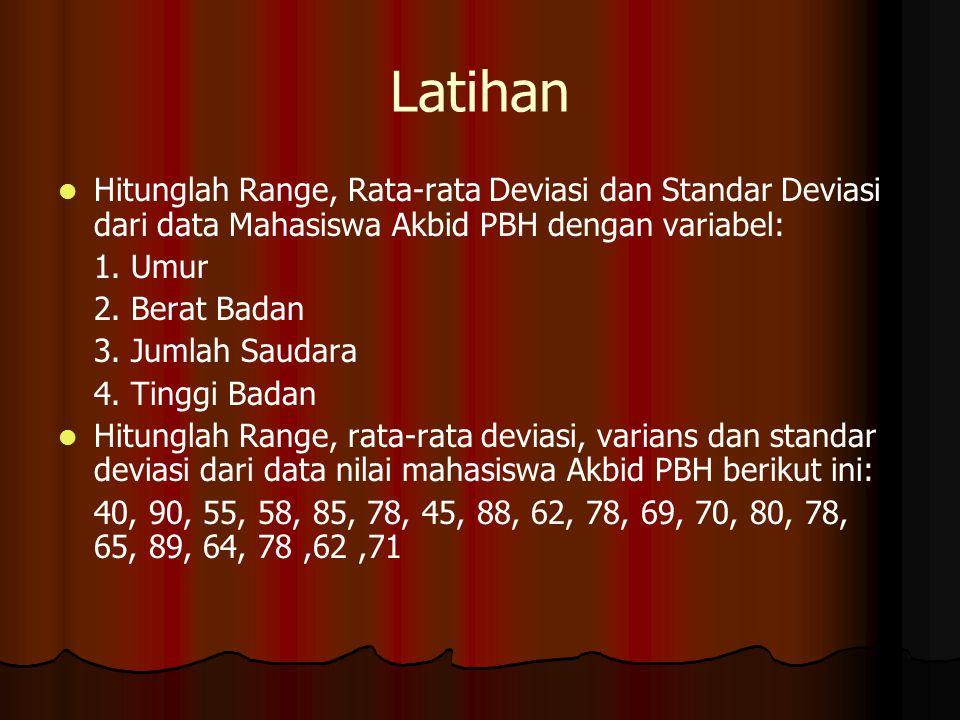 Latihan Hitunglah Range, Rata-rata Deviasi dan Standar Deviasi dari data Mahasiswa Akbid PBH dengan variabel: 1. Umur 2. Berat Badan 3. Jumlah Saudara