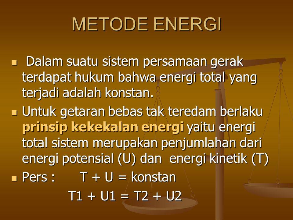 METODE ENERGI Dalam suatu sistem persamaan gerak terdapat hukum bahwa energi total yang terjadi adalah konstan. Dalam suatu sistem persamaan gerak ter