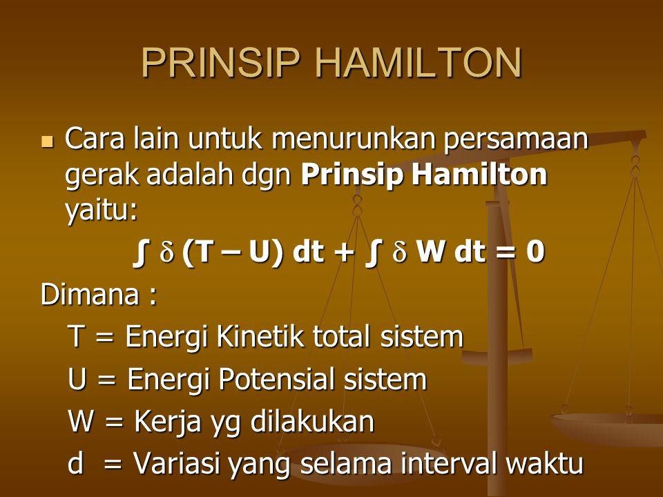 PRINSIP HAMILTON Cara lain untuk menurunkan persamaan gerak adalah dgn Prinsip Hamilton yaitu: Cara lain untuk menurunkan persamaan gerak adalah dgn P