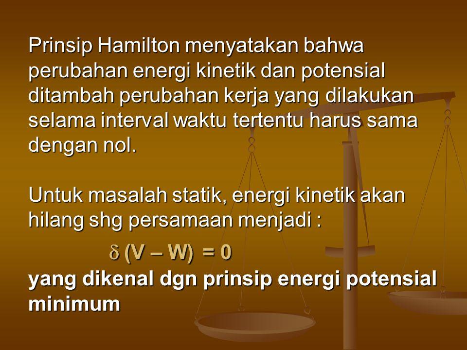 Prinsip Hamilton menyatakan bahwa perubahan energi kinetik dan potensial ditambah perubahan kerja yang dilakukan selama interval waktu tertentu harus