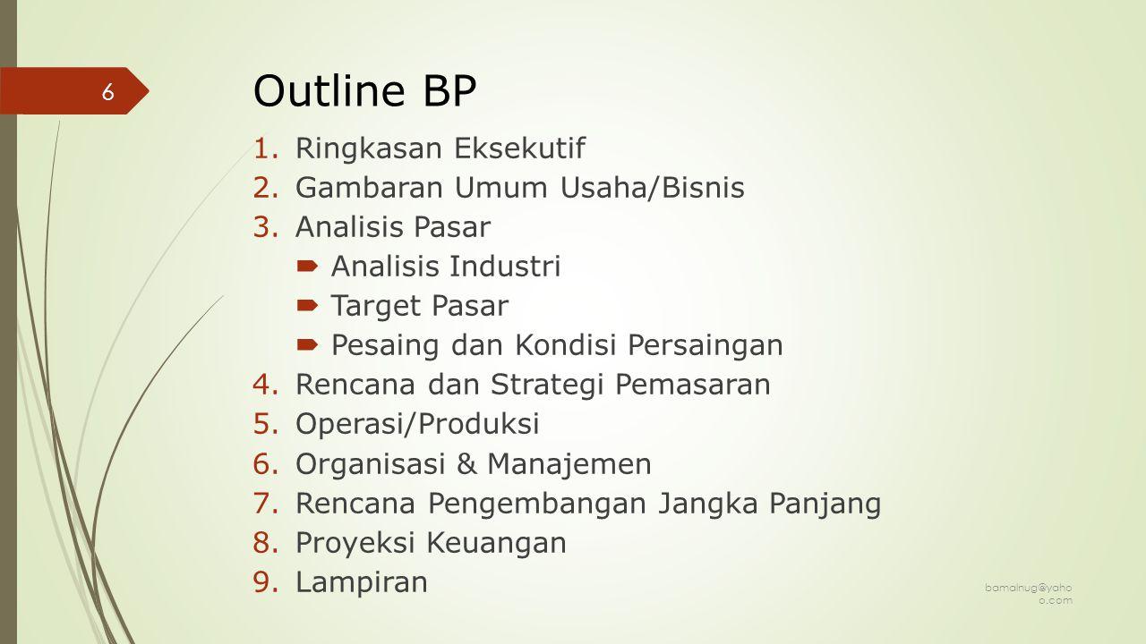 Outline Program Wirausaha Mahasiswa 1.Ringkasan Proposal 2.Karakteristik Keunikan Barang/Jasa 3.Analisis Kompetisi & Peluang Pasar Barang/Jasa 4.Aspek Mekanisme Produksi Barang/Jasa 5.Rencana Pemasaran Pasar Barang/Jasa 6.Rencana Anggaran & Laporan 7.Lampiran bamalnug@yaho o.com 7