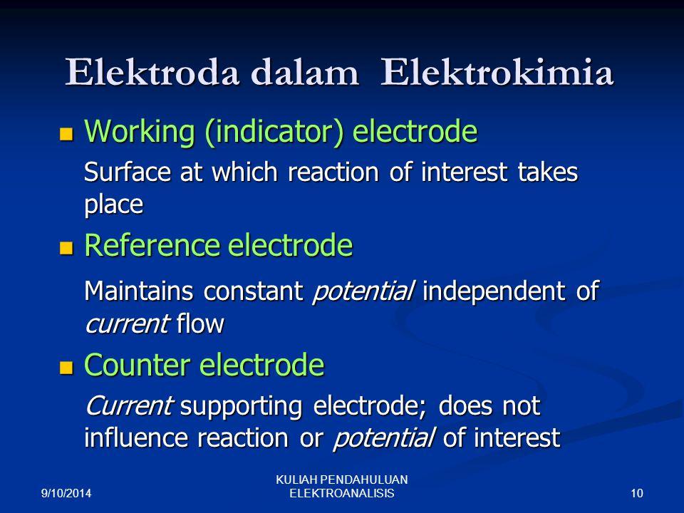 9/10/2014 10 KULIAH PENDAHULUAN ELEKTROANALISIS Elektroda dalam Elektrokimia Working (indicator) electrode Working (indicator) electrode Surface at wh