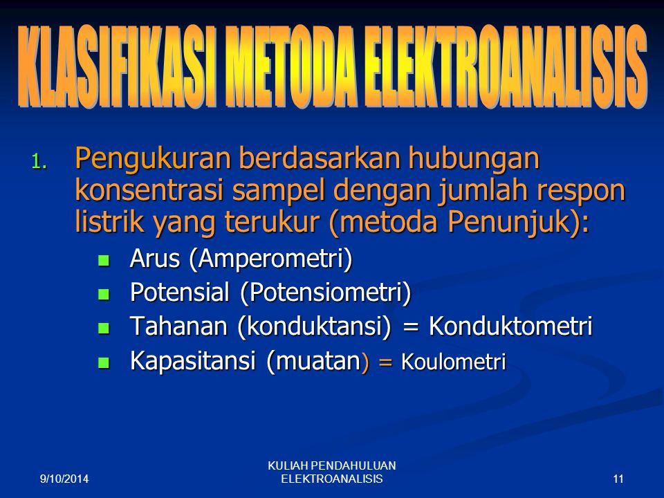 9/10/2014 11 KULIAH PENDAHULUAN ELEKTROANALISIS 1. Pengukuran berdasarkan hubungan konsentrasi sampel dengan jumlah respon listrik yang terukur (metod