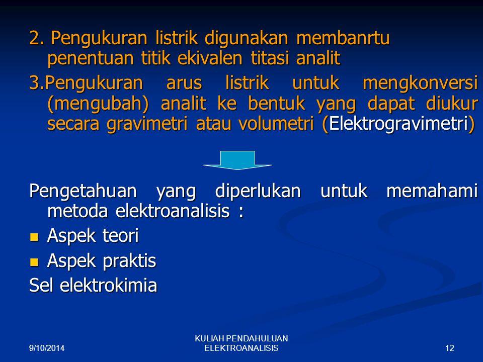 9/10/2014 12 KULIAH PENDAHULUAN ELEKTROANALISIS 2. Pengukuran listrik digunakan membanrtu penentuan titik ekivalen titasi analit 3.Pengukuran arus lis
