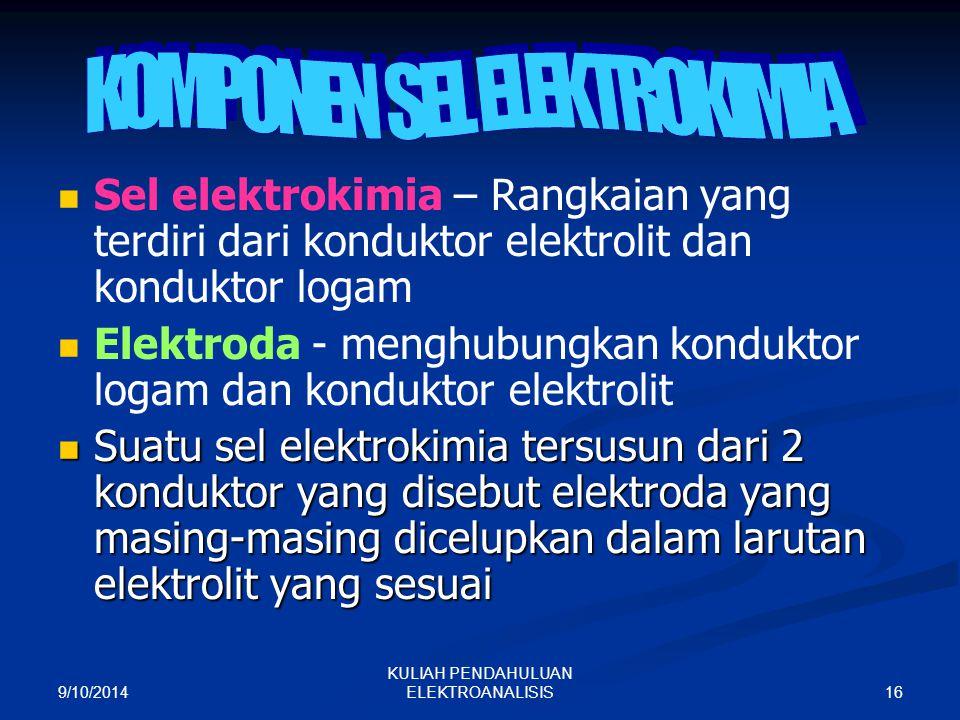 9/10/2014 16 KULIAH PENDAHULUAN ELEKTROANALISIS Sel elektrokimia – Rangkaian yang terdiri dari konduktor elektrolit dan konduktor logam Elektroda - me