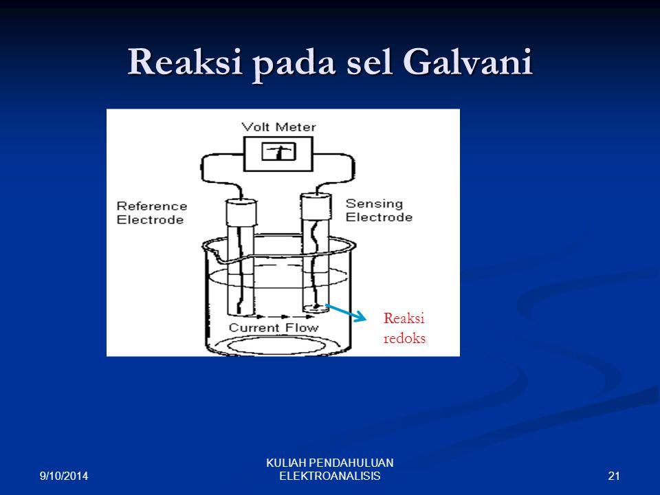 Reaksi pada sel Galvani 9/10/2014 21 KULIAH PENDAHULUAN ELEKTROANALISIS Reaksi redoks