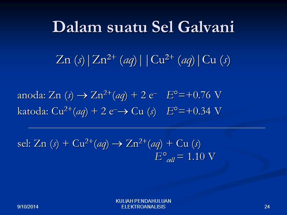 9/10/2014 24 KULIAH PENDAHULUAN ELEKTROANALISIS Dalam suatu Sel Galvani Zn (s)|Zn 2+ (aq)||Cu 2+ (aq)|Cu (s) anoda: Zn (s)  Zn 2+ (aq) + 2 e – E°=+0.