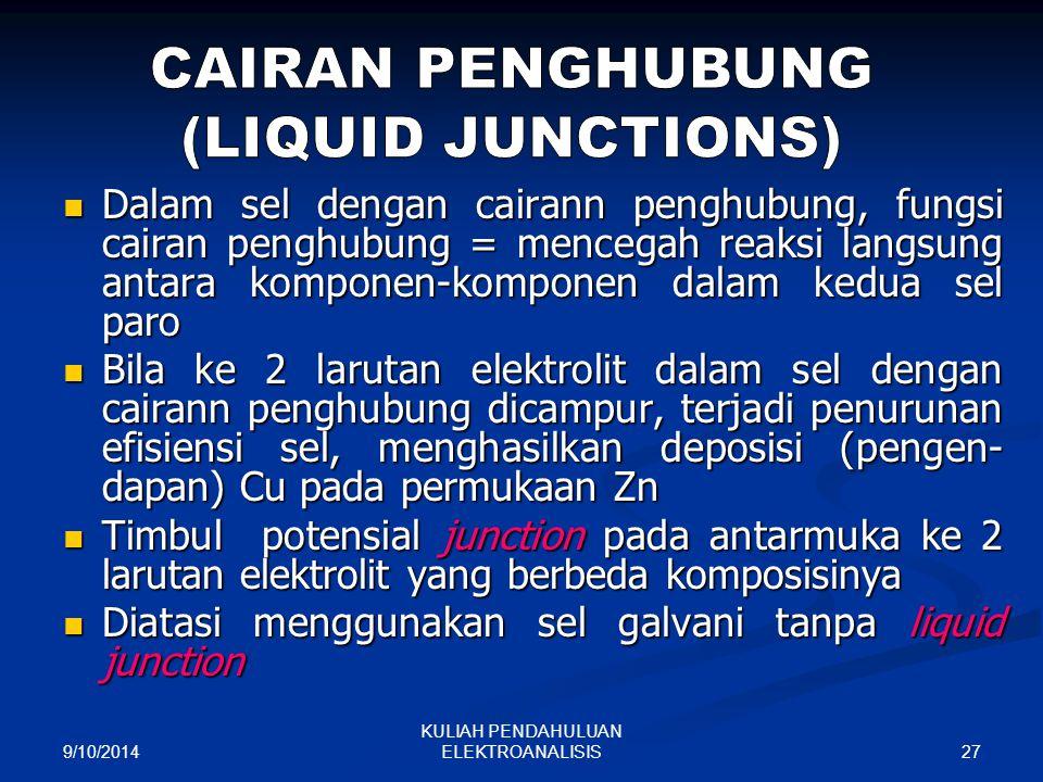 9/10/2014 27 KULIAH PENDAHULUAN ELEKTROANALISIS Dalam sel dengan cairann penghubung, fungsi cairan penghubung = mencegah reaksi langsung antara kompon