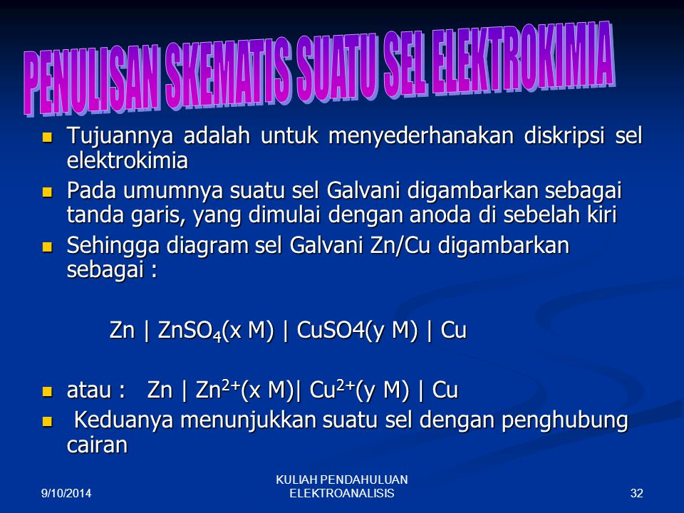 9/10/2014 32 KULIAH PENDAHULUAN ELEKTROANALISIS Tujuannya adalah untuk menyederhanakan diskripsi sel elektrokimia Tujuannya adalah untuk menyederhanak