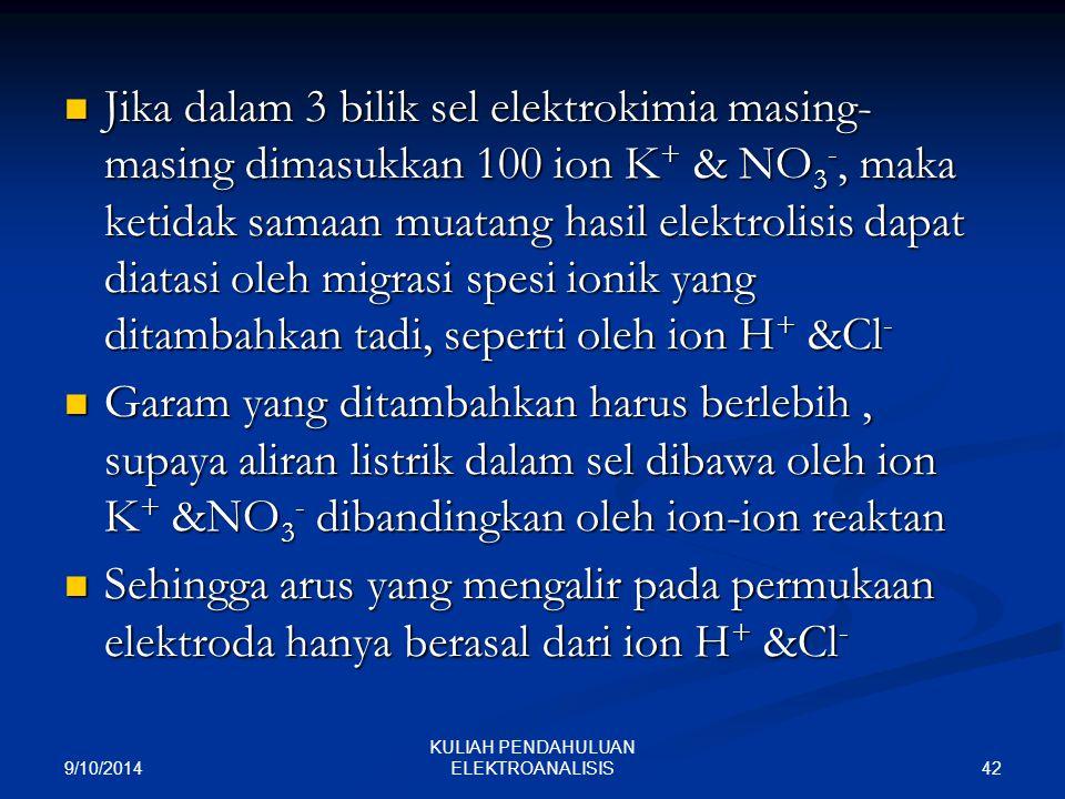 9/10/2014 42 KULIAH PENDAHULUAN ELEKTROANALISIS Jika dalam 3 bilik sel elektrokimia masing- masing dimasukkan 100 ion K + & NO 3 -, maka ketidak samaa