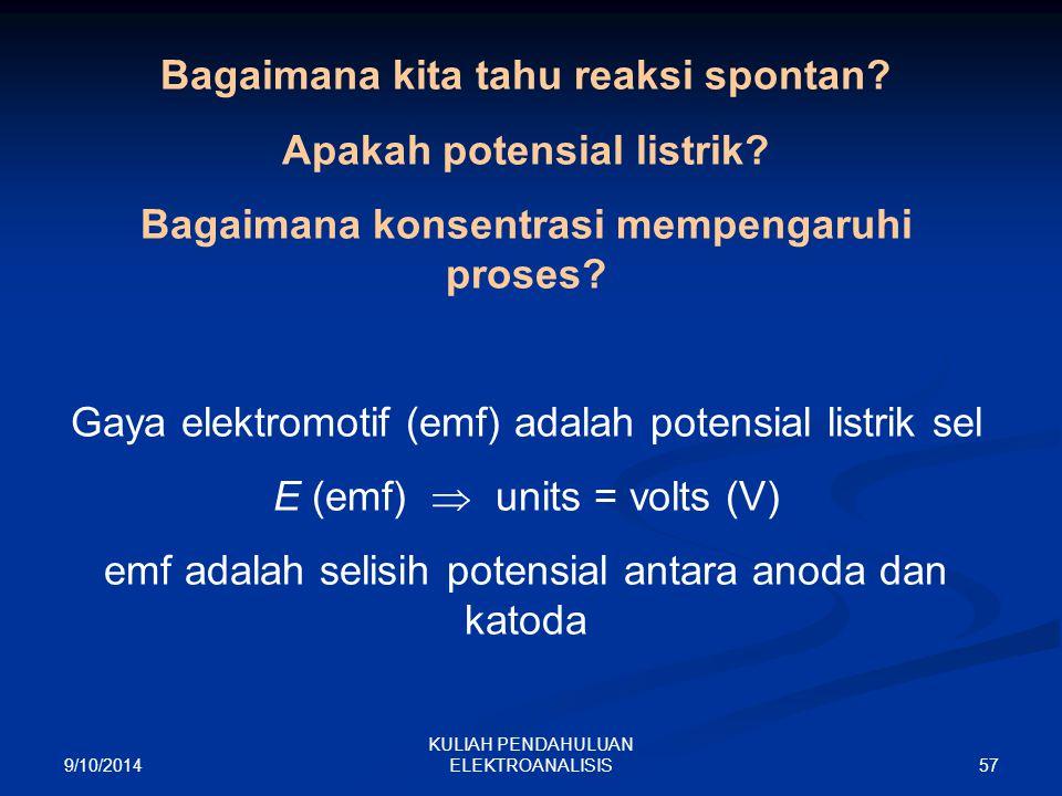 9/10/2014 57 KULIAH PENDAHULUAN ELEKTROANALISIS Bagaimana kita tahu reaksi spontan? Apakah potensial listrik? Bagaimana konsentrasi mempengaruhi prose