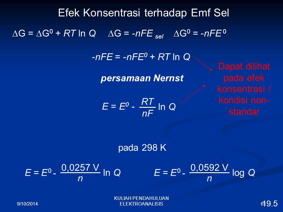 9/10/2014 61 KULIAH PENDAHULUAN ELEKTROANALISIS Efek Konsentrasi terhadap Emf Sel  G =  G 0 + RT ln Q  G = -nFE sel  G 0 = -nFE 0 -nFE = -nFE 0 +