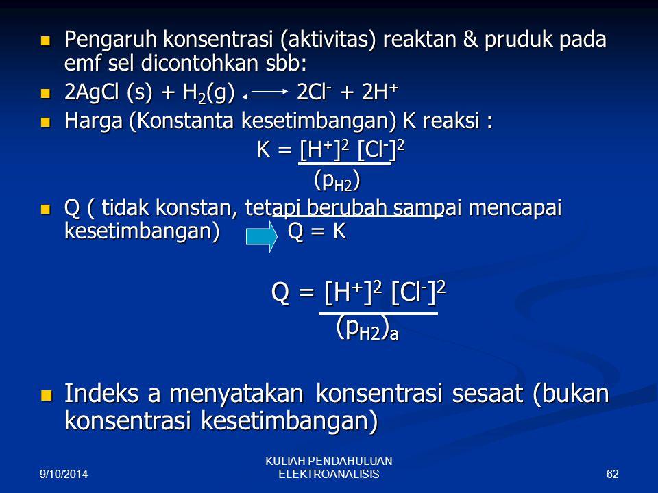 9/10/2014 62 KULIAH PENDAHULUAN ELEKTROANALISIS Pengaruh konsentrasi (aktivitas) reaktan & pruduk pada emf sel dicontohkan sbb: Pengaruh konsentrasi (