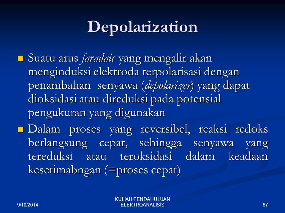 9/10/2014 67 KULIAH PENDAHULUAN ELEKTROANALISIS Depolarization Suatu arus faradaic yang mengalir akan menginduksi elektroda terpolarisasi dengan penam