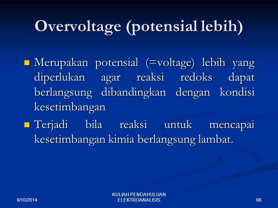 9/10/2014 68 KULIAH PENDAHULUAN ELEKTROANALISIS Overvoltage (potensial lebih) Merupakan potensial (=voltage) lebih yang diperlukan agar reaksi redoks