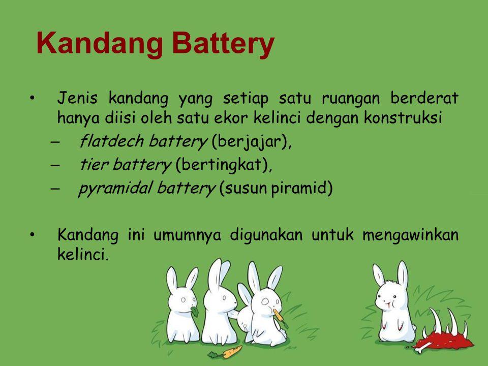 Kandang Battery Jenis kandang yang setiap satu ruangan berderat hanya diisi oleh satu ekor kelinci dengan konstruksi – flatdech battery (berjajar), –