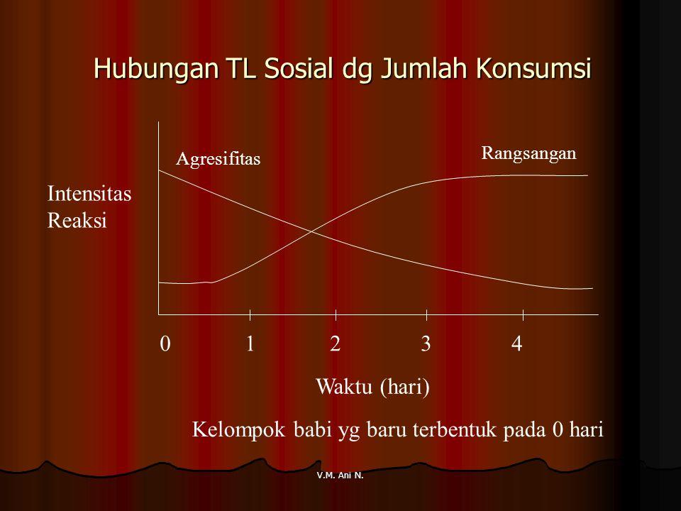 V.M. Ani N. Hubungan TL Sosial dg Jumlah Konsumsi Intensitas Reaksi Waktu (hari) Rangsangan Agresifitas 0 1 2 3 4 Kelompok babi yg baru terbentuk pada