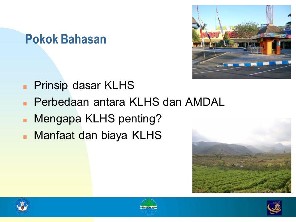 2 Pokok Bahasan n Prinsip dasar KLHS n Perbedaan antara KLHS dan AMDAL n Mengapa KLHS penting? n Manfaat dan biaya KLHS